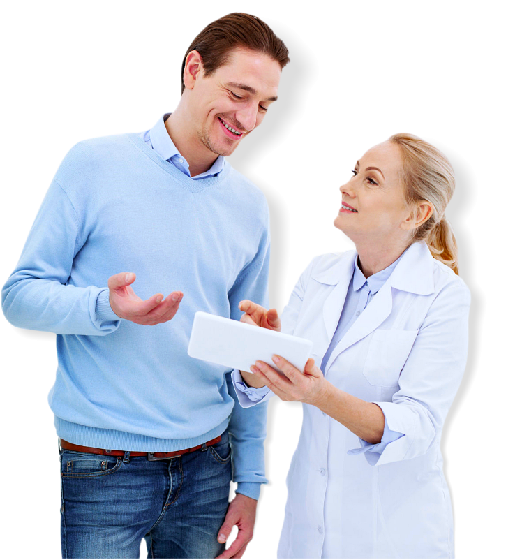 woman doctor giving a medical receipt to adult man